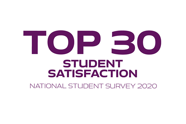 "Infographic reading ""Top 30 student satisfaction, national student survey 2020"""
