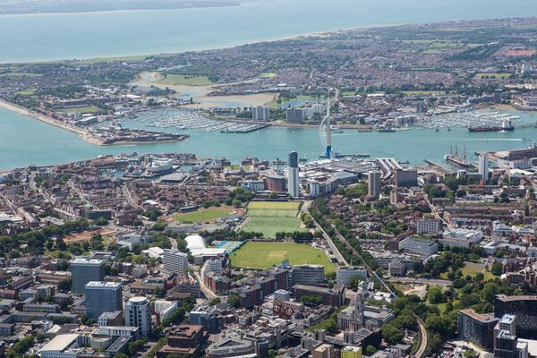 Aerial view of Portsmouth on a sunny, clear day