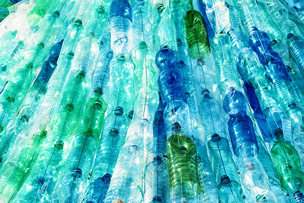 An assortment of plastic bottles in a pile