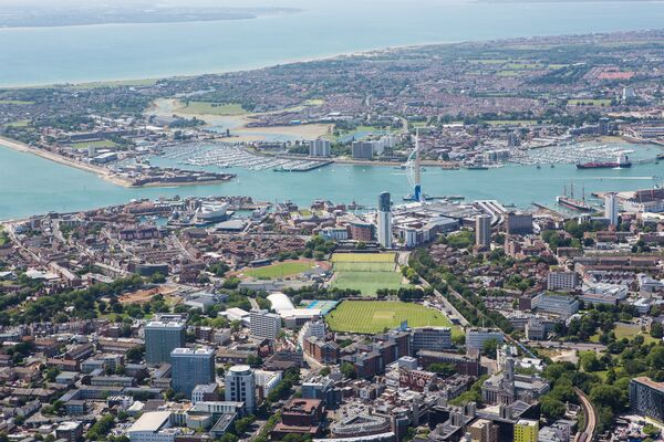 Aerial view of Portsmouth, University of Portsmouth