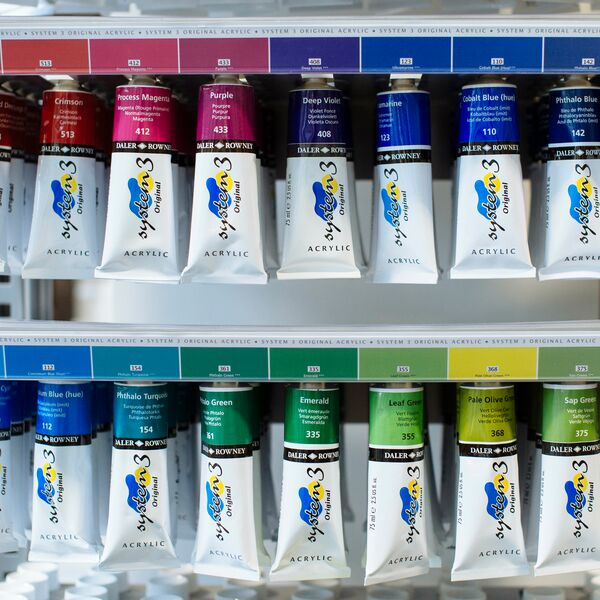 Close up of acrylic paint in the eldon art shop