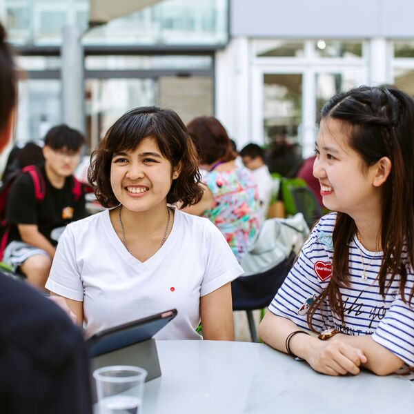 Happy students on campus