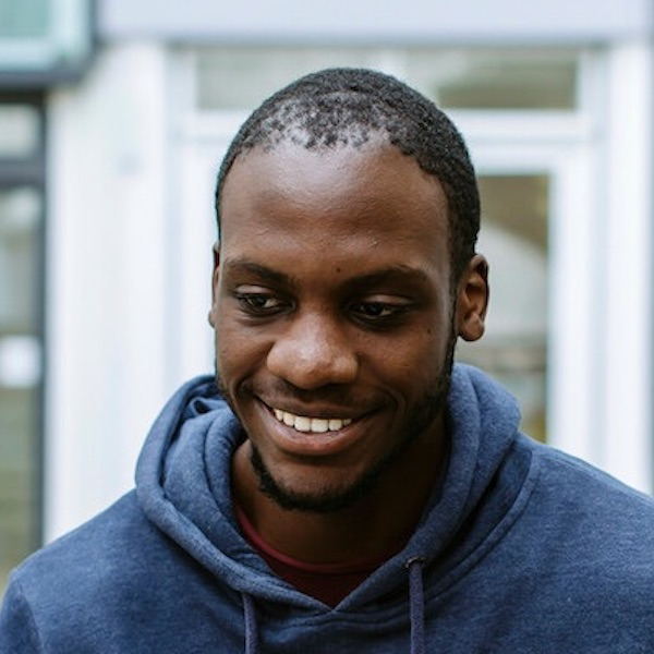 Male BAME University of Portsmouth student smiling