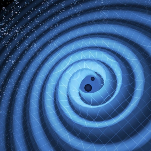 Illustration of 2 merging black holes and the gravitational waves that ripple outward
