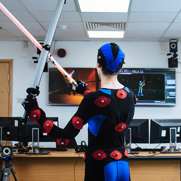 student in the mocap suite