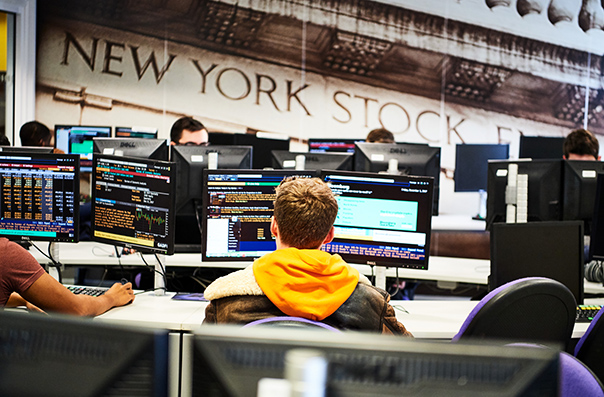 Students in the bloomberg suite facility