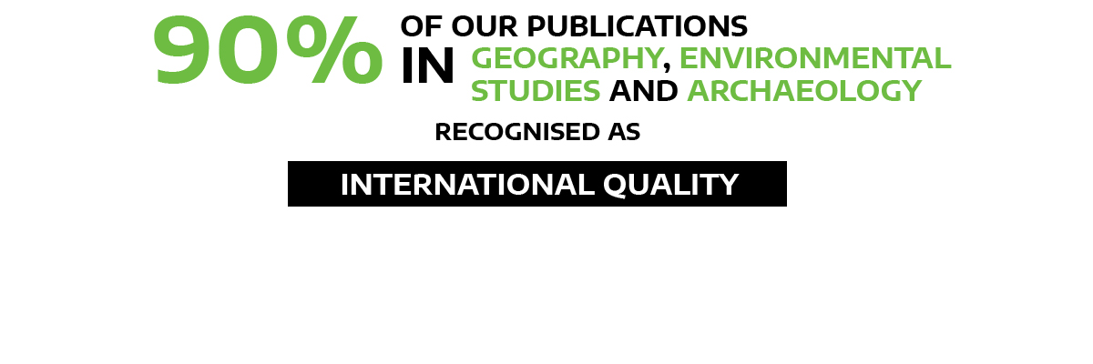 90 percent of our publications in geography, environmental studies and archaeology recognised as international quality