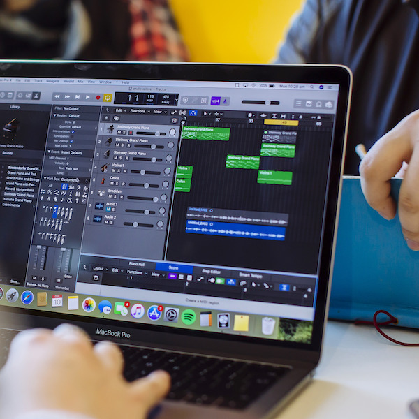 Garageband being used on MacBook