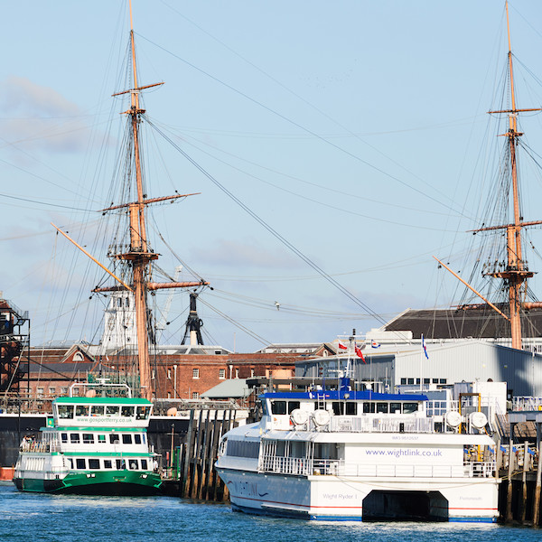 Passenger boats and tall ships in Portsmouth harbour