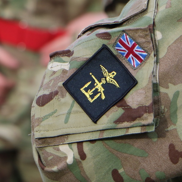 close-up of British army soldier's sleeve insignia