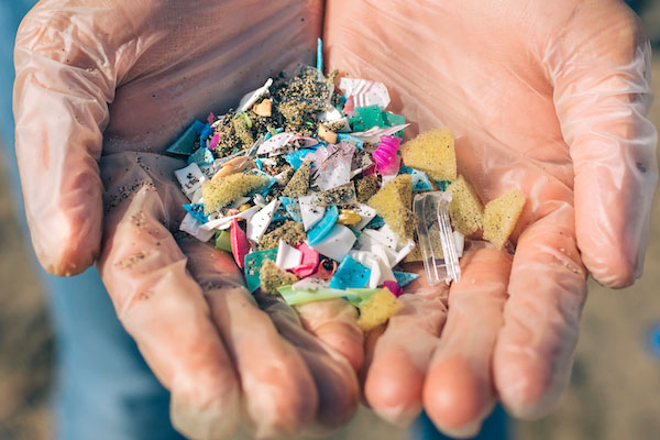 SOmeone holding microplastics on the beach