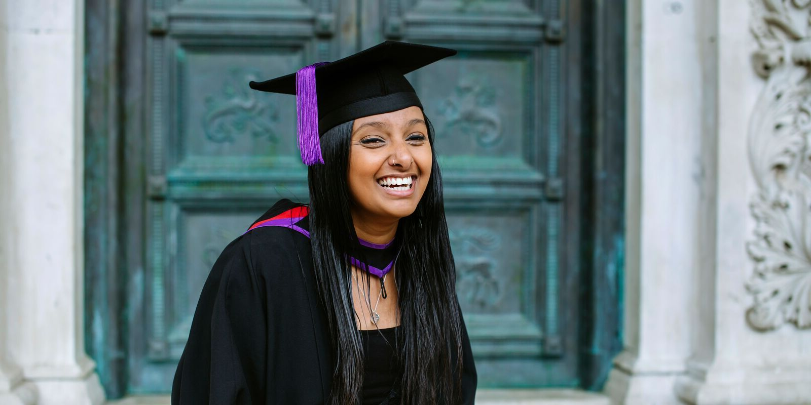 Female UoP student at Portsmouth Guildhall graduation ceremony