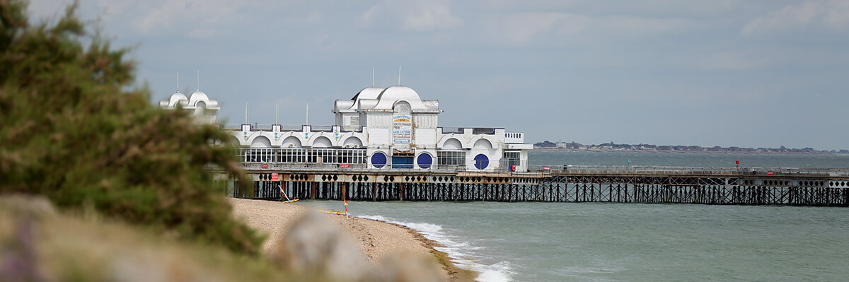 Wide shot of Southsea Pier