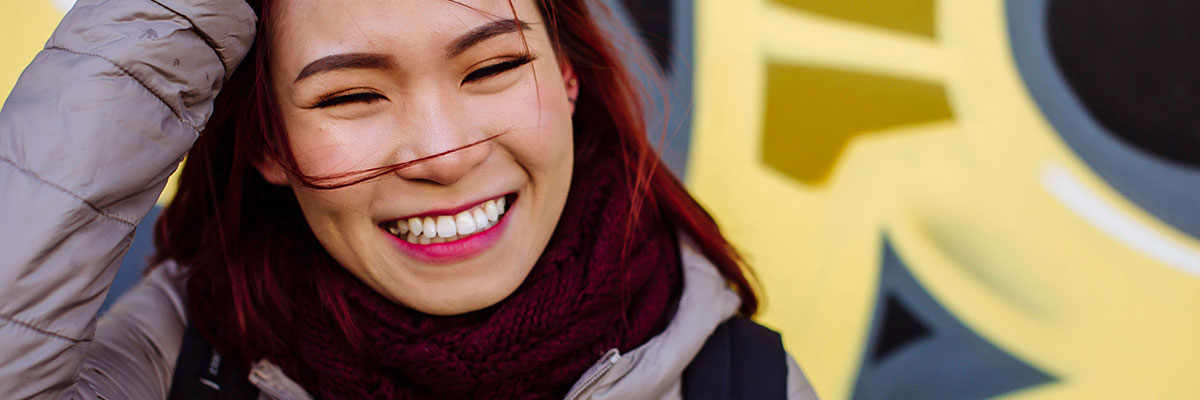 student smiling in southsea