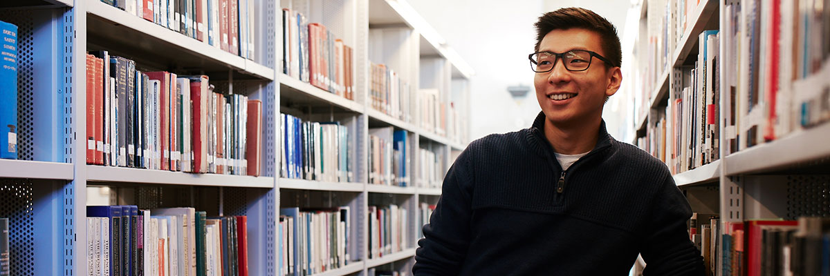 a male student from Macau in the portsmouth university library