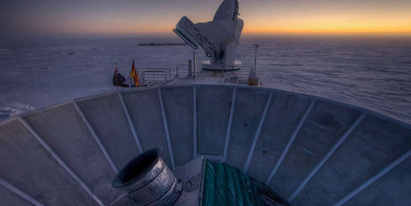 Close up of the BICEP2 in its South Pole base