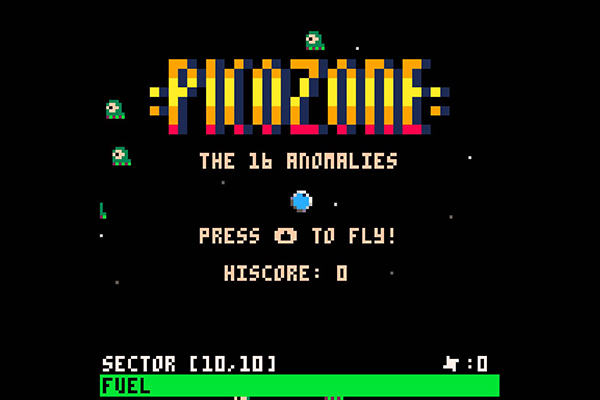 Landing screen of the PICOZONE game created by Neil Dansey