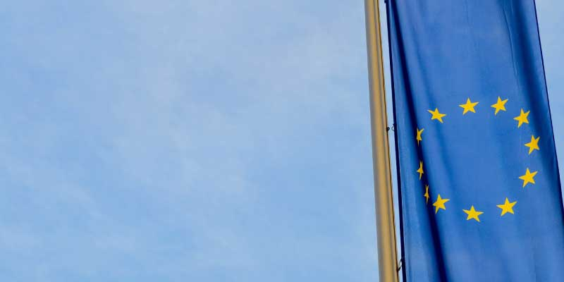 Image on the EU flag under blue sky