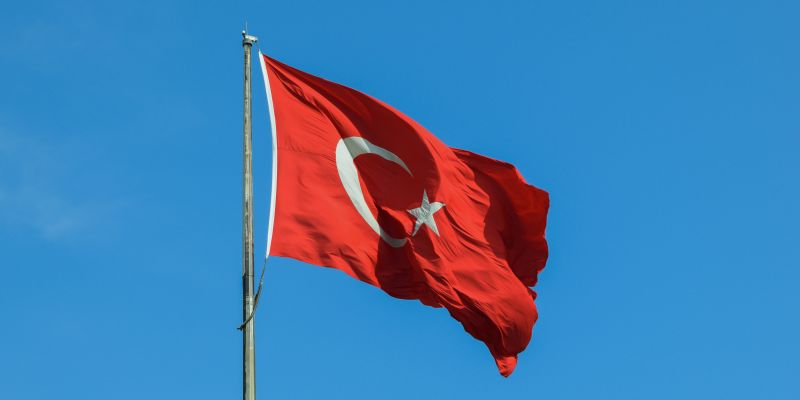 Turkish flag blowing in the wind