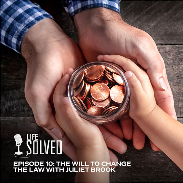 Adult holding child's hands who is holding a jar of pennies. Life Solved logo and title and bottom.