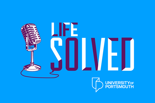 Life Solved podcast logo with a blue background, drawing of a microphone and University of Portsmouth logo