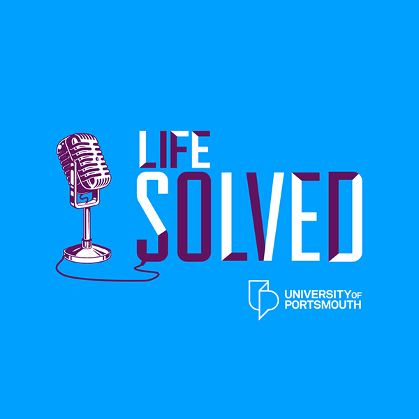 Life Solved logo with microphone and university of portsmouth logo