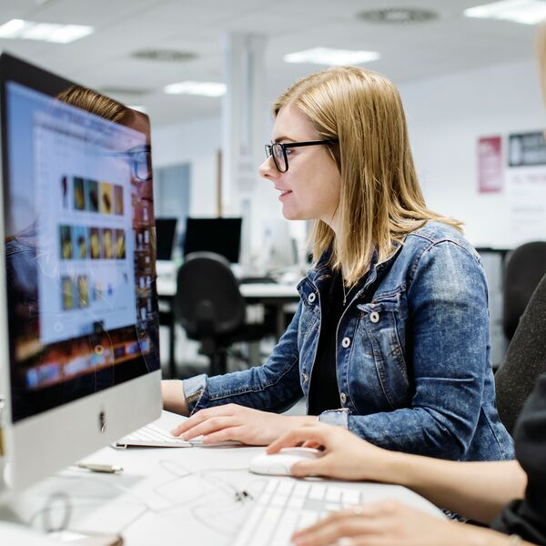Female students using Eldon computer suite